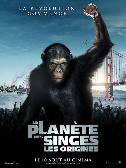 la planete des singes les origines_james franco_freida pinto_john lithgow_rupert wyatt_affiche_poster