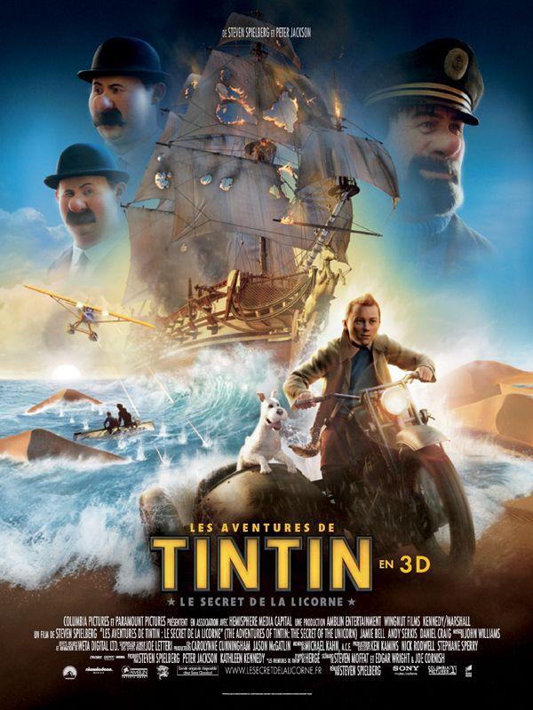 les aventures de tintin_le secret de la licorne_jamie bell_andy serkis_daniel craig_gad elmaleh_steven spielberg_affiche_poster