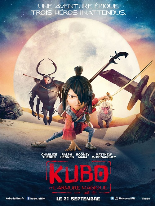 kubo et l armure magique_and the two strings_charlize theron_matthew mcconaughey_travis knight_laika_affiche_poster