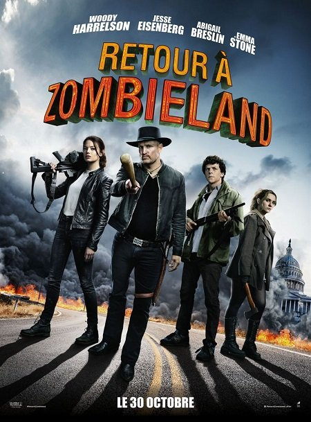 retour a zombieland_double tap_woody harrelson_emma stone_ruben fleischer_affiche_poster